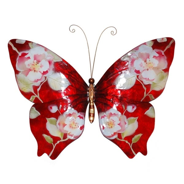 Butterfly Wall Decor Red With Flowers