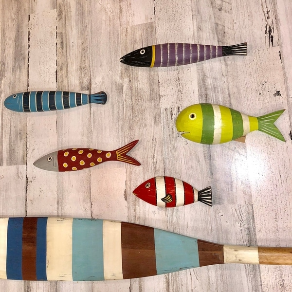 Shop Wooden Fish Wall Art Blue Striped 14 X 1 X 3 Free Shipping