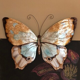 Butterfly Wall Decor Copper With Aqua