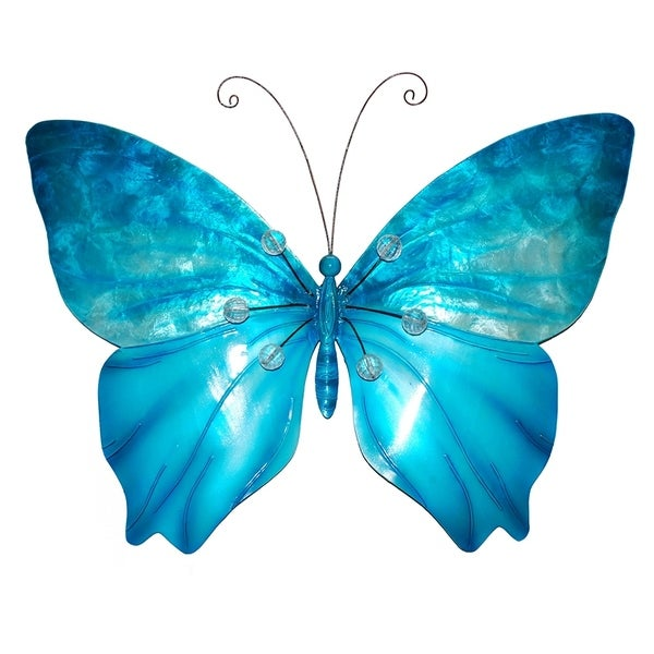 Butterfly Wall Decor Sea Blue With Beads