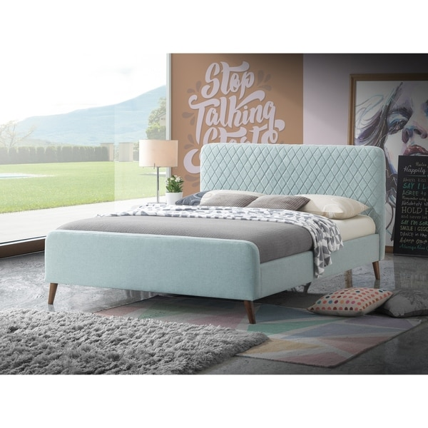 Shop Light Blue Retro Linen Queen Platform Bed With A 50