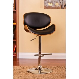 Modern Swivel Walnut Bentwood Adjustable Height Bar Stool