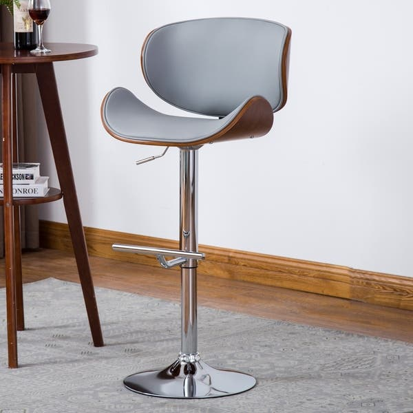 Pleasant Shop Modern Swivel Walnut Bentwood Adjustable Height Bar Pabps2019 Chair Design Images Pabps2019Com