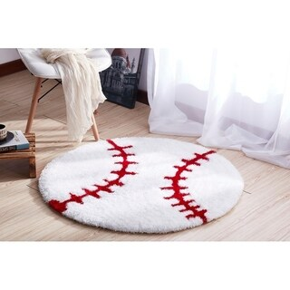 """""""Sports Theme"""" Extra Soft Hand Tufted Shag Area Rug (36-in Diameter) - 36"""" x 36"""""""