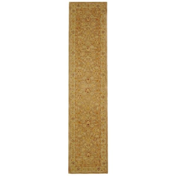 Safavieh Handmade Anatolia Oriental Tan/ Ivory Hand-spun Wool Runner (2'3 x 8')
