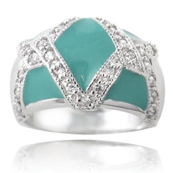 Icz Stonez Sterling Silver Turquoise Colored Enamel CZ Ring
