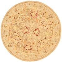 Safavieh Handmade Anatolia Oriental Tan/ Ivory Hand-spun Wool Rug - 4' x 4' Round