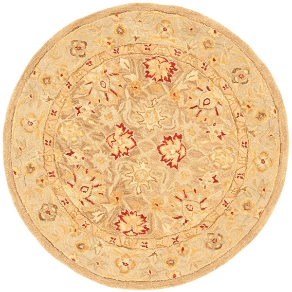 Safavieh Anatolia Handmade Tan / Ivory Wool Rug (4' Round)