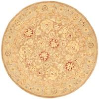 Safavieh Handmade Anatolia Traditional Oriental Tan/ Ivory Hand-spun Wool Rug - 6' x 6' Round