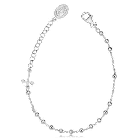 Sterling Silver Adjustable Saturn Rosary Bracelet (adjusts from 7 - 8.5 inches)