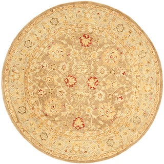 Safavieh Handmade Anatolia Oriental Tan/ Ivory Hand-spun Wool Rug (8' Round)