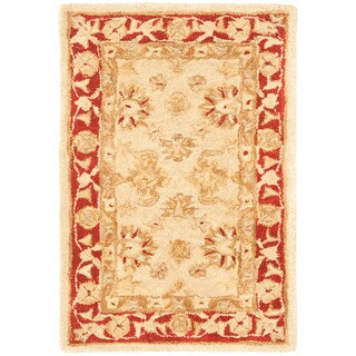 Safavieh Handmade Anatolia Oriental Ivory/ Red Hand-spun Wool Rug (2' x 3')