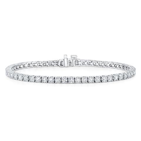 18K White Gold Round Cut Diamond (16.54 ct. t.w) Tennis Bracelet