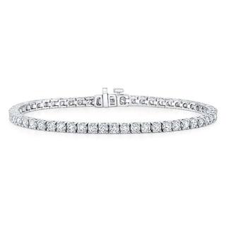 18K White Gold Round Cut Diamond (16.54 ct. t.w) Tennis Bracelet
