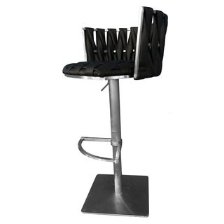 "Stainless Steel Bar Stool Adjustable Height 29""-35"" Belize Black Lava"