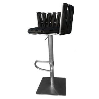 "Stainless Steel Bar Stool Adjustable Height 29""-35"" Belize Black Lava"