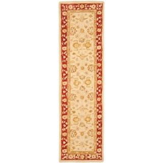 Safavieh Handmade Anatolia Oriental Ivory/ Red Hand-spun Wool Runner (2'3 x 10')
