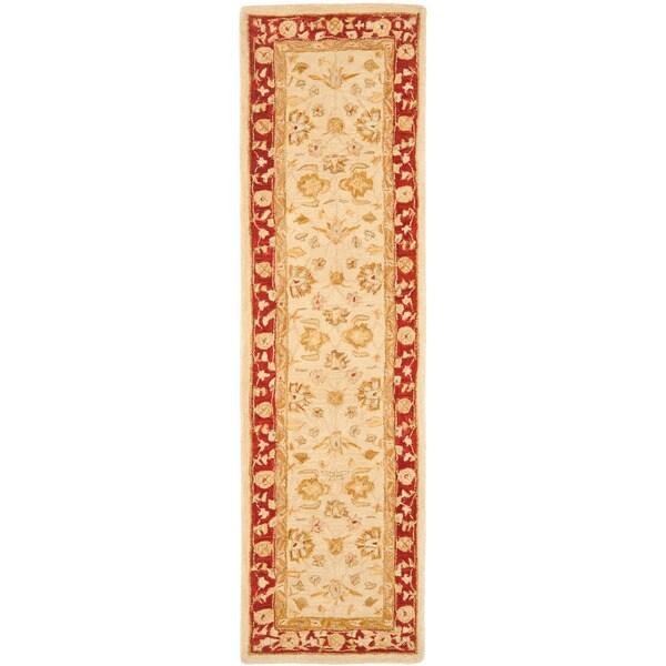 Safavieh Handmade Anatolia Oriental Ivory/ Red Hand-spun Wool Runner (2'3 x 12')
