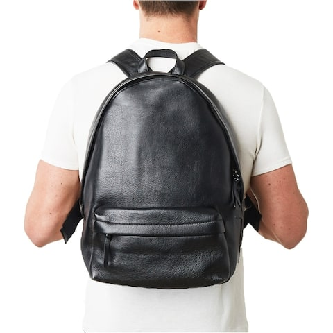 Black Genuine Italian Pebble Leather Backpack