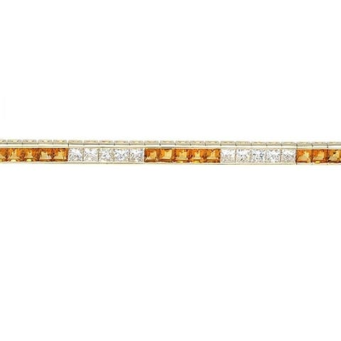 14K Yellow Gold Citrine and Princess Cut Diamond (5.1 ct. t.w) Tennis Bracelet