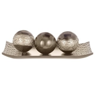 Dublin Decorative Tray and Orbs/Balls Set of 3(Brushed Silver)