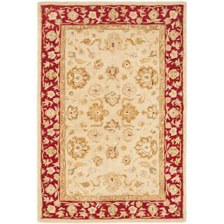 Safavieh Handmade Anatolia Oriental Ivory/ Red Hand-spun Wool Rug (4' x 6')