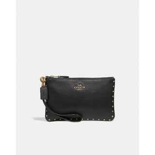 Coach Wristlet with Border Rivets Black