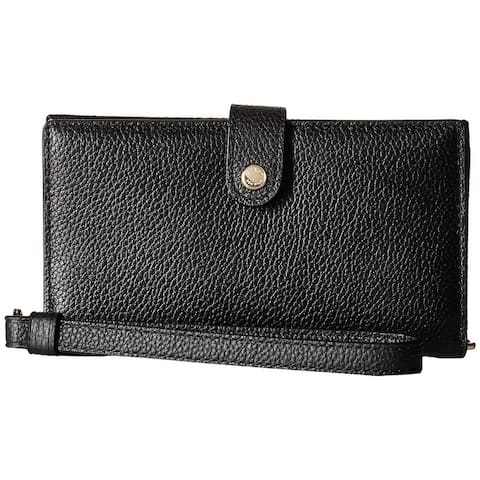 Coach pebbled phone whristlet Black