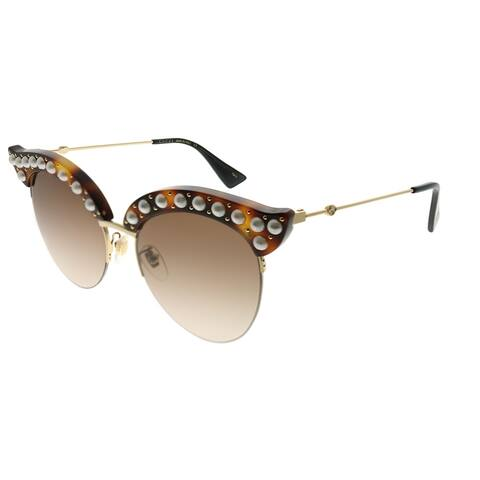 Gucci Fashion GG 0212S 002 Women Havana Frame Brown Gradient Lens Sunglasses