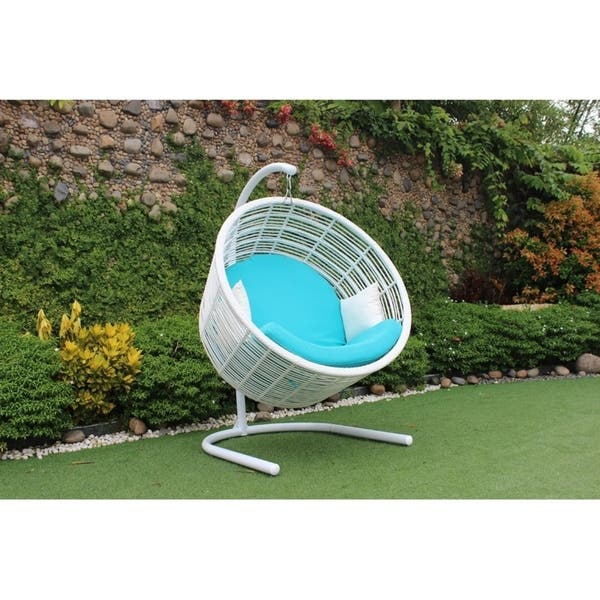 Superb Renava Doheny Outdoor White Aqua Blue Hanging Chair Ibusinesslaw Wood Chair Design Ideas Ibusinesslaworg
