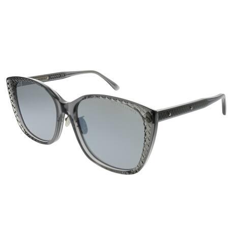 Bottega Veneta Cat-Eye BV 0218SK 002 Women Grey Frame Silver Flash Lens Sunglasses