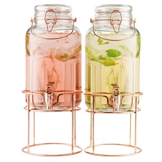 Twin 1 Gallon Beverage Dispensers With Copper Stands