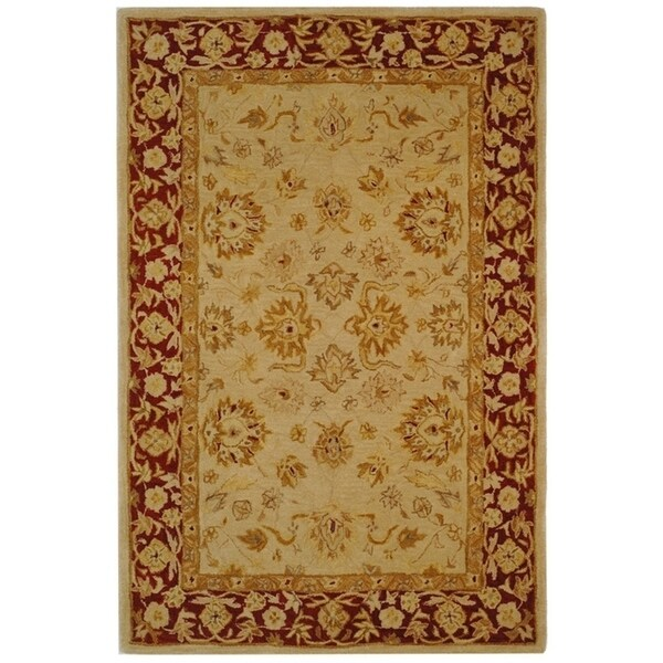 "Safavieh Handmade Anatolia Oriental Ivory/ Red Hand-spun Wool Rug - 9'-6"" x 13'-6"""
