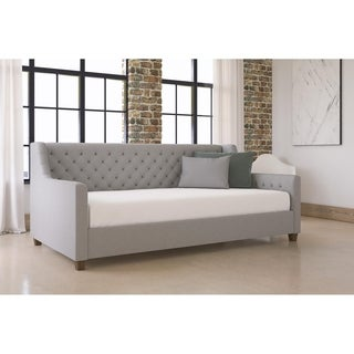 DHP Jordyn Grey Linen Twin Daybed and 8-inch Mattress