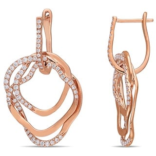 Miadora 14k Rose Gold 1ct TDW Diamond Entwined Multi-Hoop Earrings