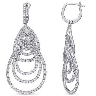 Miadora 14k White Gold 3-5/8ct TDW Diamond Interlaced Teardrop Multi-Hoop Earrings