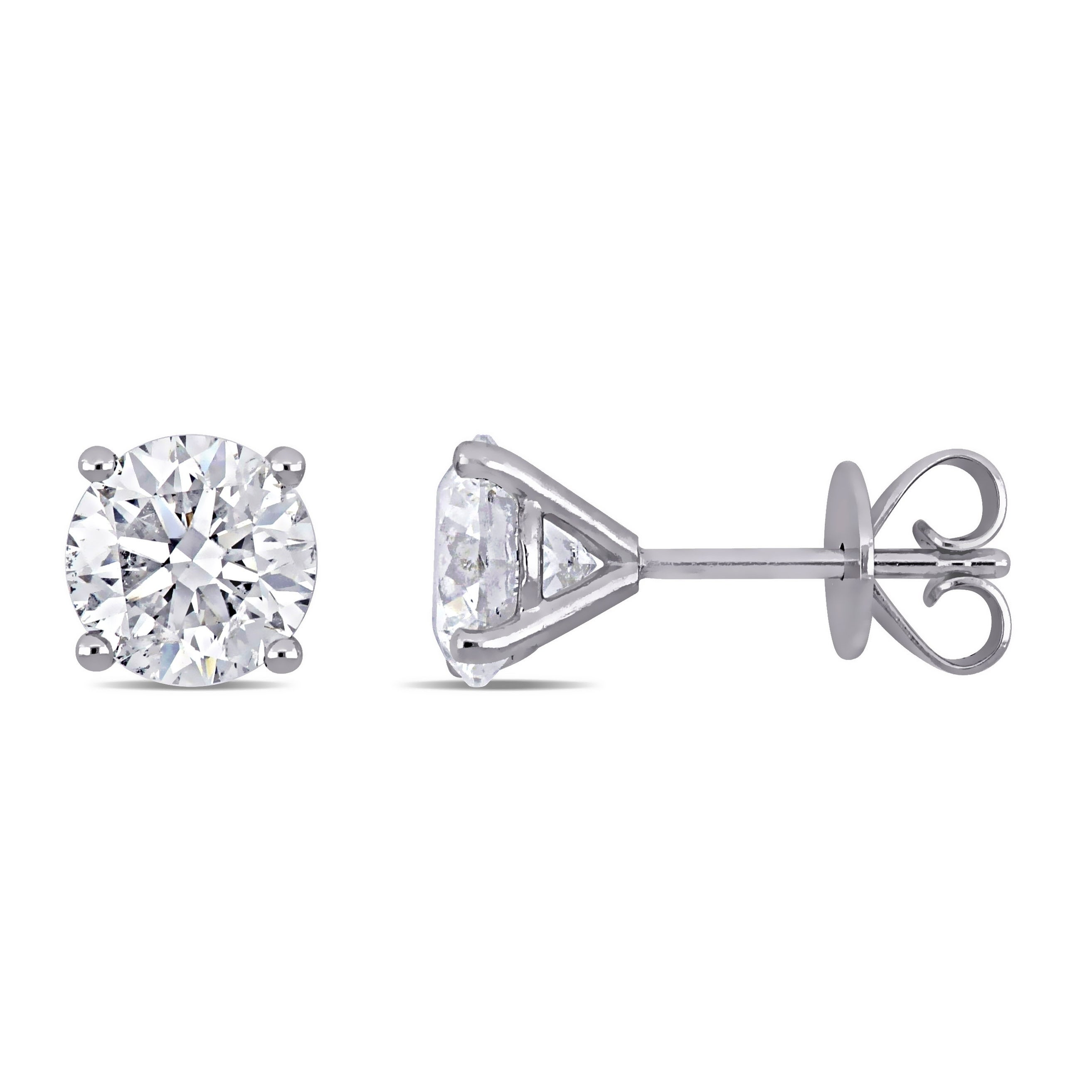 14k White Gold Diamond Solitaire Stud Earrings 1//10 Ct G-H SI1-SI2