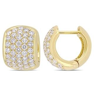 Miadora 14k Yellow Gold 2 1/10ct TDW Diamond Cluster Huggie Hoop Earrings