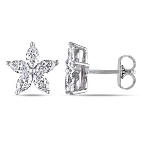 Miadora 14k White Gold 1-1/2ct TDW Marquise-Cut Diamond Flower Stud Earrings