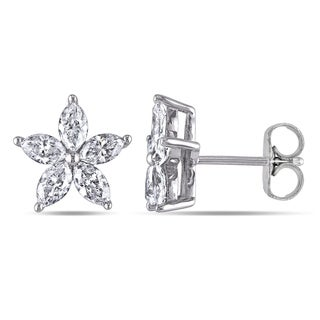 Miadora 14k White Gold 1-1/2ct TDW Marquise-Cut Diamond Flower Stud Earrings