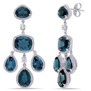 Miadora 18k White Gold 44-1/2ct TGW London Blue-Topaz 1-7/8ct TDW Diamond Dangle Earrings