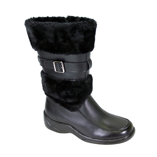 PEERAGE Tina Women Wide Width Fleece Inner/Collar Leather Dress Boot