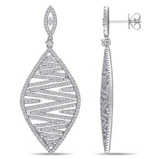 Miadora 14k White Gold 2-1/5ct TDW Diamond Zigzag Cluster Dangle Earrings