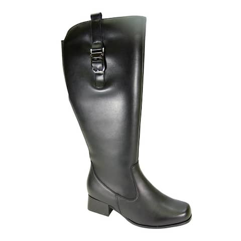 PEERAGE Carolyn Women Wide Width Wide Calf Casual Leather Riding Boot
