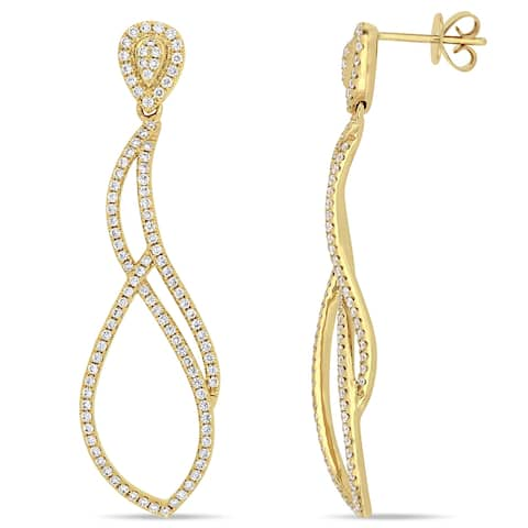 Miadora 14k Yellow Gold 1ct TDW Diamond Abstract Dangle Statement Earrings