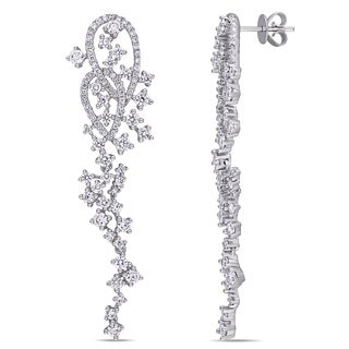 Miadora 14k White Gold 2 5/8ct TDW Diamond Abstract Cluster Dangle Earrings