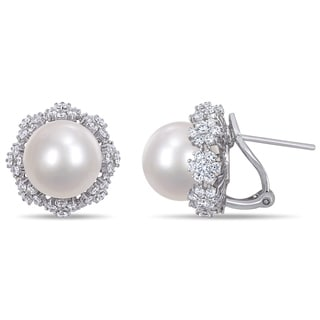 Miadora 14k White Gold South Sea Cultured Pearl And 2ct TDW Diamond Flower Halo Earrings 11 12 Mm