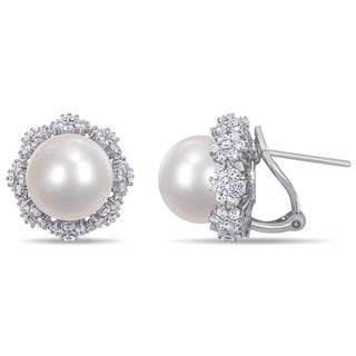 Miadora 14k White Gold South Sea Cultured Pearl and 2ct TDW Diamond Flower Halo Earrings (11-12 mm)