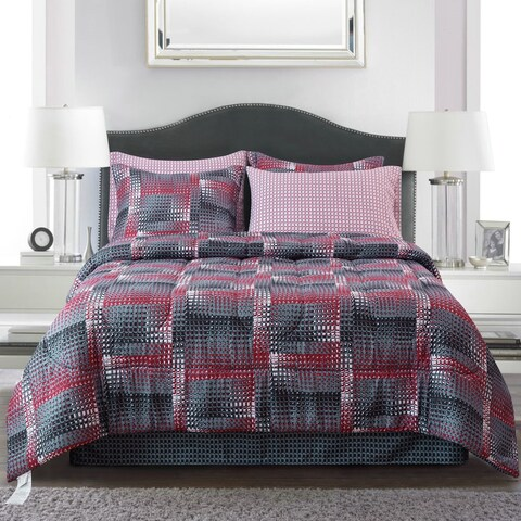 Brown & Grey Shadow Box Red Bed-In-Bag Set