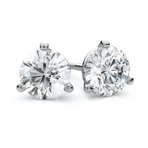 18k White Gold 3-Prong Martini Round Diamond Stud Earrings (1/3ct. t.w.)